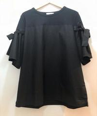 袖リボン 布帛切替Tシャツ ブラック