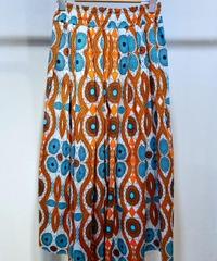 ITALY select サイケ柄コットンギャザースカート オレンジ×ブルー