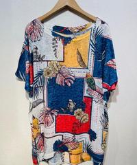 ITALY select  透かしプリントドルマンスリーブTシャツ