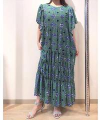 アフリカンプリントフリル袖ワンピース グリーン×ブルー