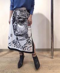 KOREA 顔プリントタイトスカート