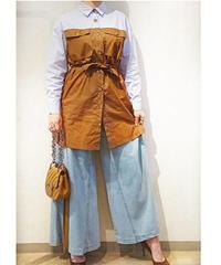 バイカラー ロングシャツ サックスブルー×ブラウン