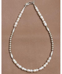 fresh water pearl×silver short necklace (MA-N-10)