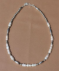 fresh water pearl×silver mix short necklace (MA-N-10)