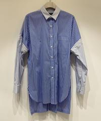 【KAZUYUKI KUMAGAI】50/1ストレッチストライプ ドロップショルダー2WAYレギュラーカラーシャツL/S   / S.BLUE