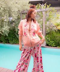 バレリーナ刺繍 サテン生地ボンバージャケット