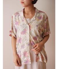 S/S flower pattern cotton shirt