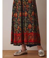 Flower + Paysley pattern long skirt