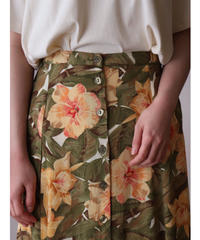 Flower printed rayon skirt