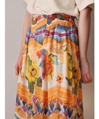 flower pattern cropped wide pants