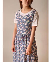 Flower &Check pattern one-piece
