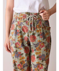 Flower pattern cotton easy pants