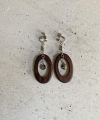 WOOD ELLIPSE EARRING