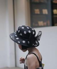 Bowknot Polka-Dot sinamay hat