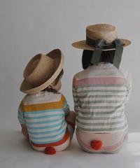 Stripe  shorts with pompom(blue)