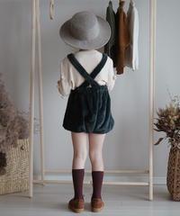 Faux fur suspender shorts with pompom ( Blue)