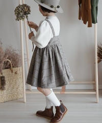 Checked wool suspenders dress(Grey)