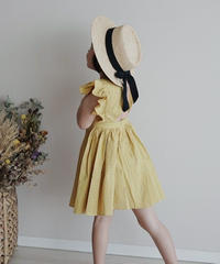 Flutter sleeve dress(Yellow)