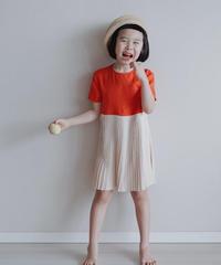 Pleated design dress(Orange)