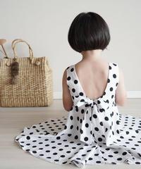 Polka dots back ribbon dress
