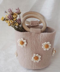 Wool felted daisy mini handbag