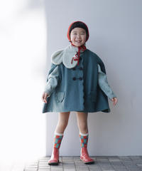 Wool poncho coat(storm blue)