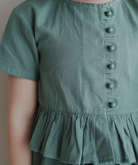 Frill trim blouse (Green)