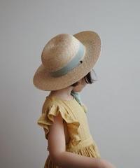 Straw Hat  (Pumpkin & Green)