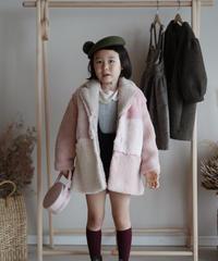 Faux fur patchwork coat(Pink)