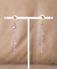 SWAY amethyst earring(K10YG)/ KAZAMI JEWELRY