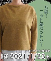 一日だけのお裁縫部「万能!ニット風カットソー」_2021年1月23日(土)_お店で参加チケット