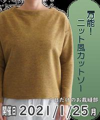 一日だけのお裁縫部「万能!ニット風カットソー」_2021年1月25日(月)_お店で参加チケット
