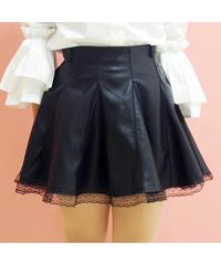 【再入荷しました】裾レースフェイクレザーフレアースカート