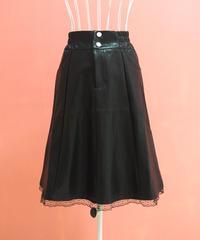 裾レースシャーリングレザースカート