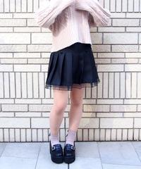 リボン付き裾レースプリーツスカート