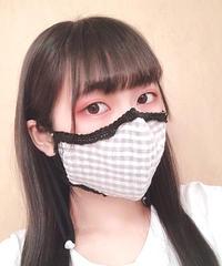 夏用マスク・ギンガムチェック×ピコレース