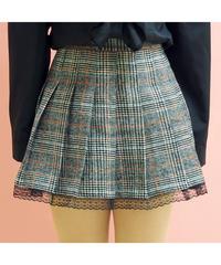 裾レースツイードプリーツスカート