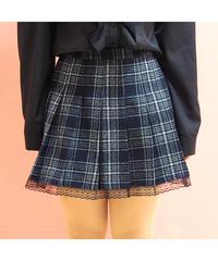 チェック柄裾レースプリーツスカート