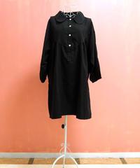 バルーン袖裾シャーリングシャツワンピース O16-03