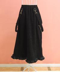 チェーン&サスペンダー付細コーデュロイ裾フリルスカート