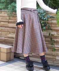 ベルト付きツイードチェックフレアースカート