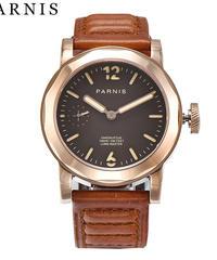 ファッションメンズウォッチ43mmパーニスシーガル3600ムーブメント手巻き機械式時計ブラックダイヤルゴールドステンレススチールケース