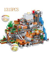 レゴ互換 ブロック 山 洞窟 マウンテン トロッコ 山道 1315ピース (mk00175)