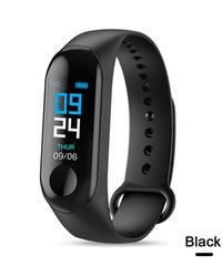 M3カラーIPSスクリーンスマートスポーツフィットネスブレスレットIP68防水血圧酸素活動トラッカー用男性女性腕時計 Black