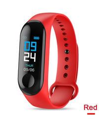 M3カラーIPSスクリーンスマートスポーツフィットネスブレスレットIP68防水血圧酸素活動トラッカー用男性女性腕時計 Red