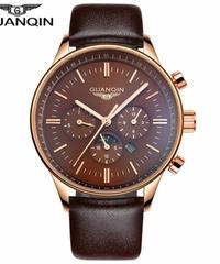 レロジオ masculino GUANQIN メンズ腕時計 スポーツクォーツ時計 革ストラップ腕時計男性時計 Brown gold brown B