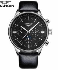 レロジオmasculino GUANQINメンズ腕時計トップブランドの高級軍事スポーツクォーツ時計男性革ストラップ腕時計男性時計 Black silver black B