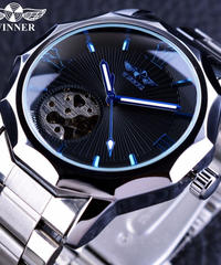 T-WINNER ウィナー メンズ腕時計 自動巻き ブルーオーシャン ジオメトリデザイン ステンレススチール ブラック/シルバー