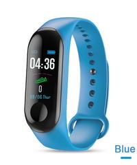 M3カラーIPSスクリーンスマートスポーツフィットネスブレスレットIP68防水血圧酸素活動トラッカー用男性女性腕時計 Blue