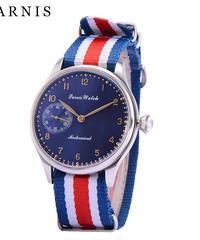 ファッション44 mmパーニス時計男性手巻き機械式ダークブルーダイヤルステンレススチールケースメンズ腕時計ナイロン時計バンド